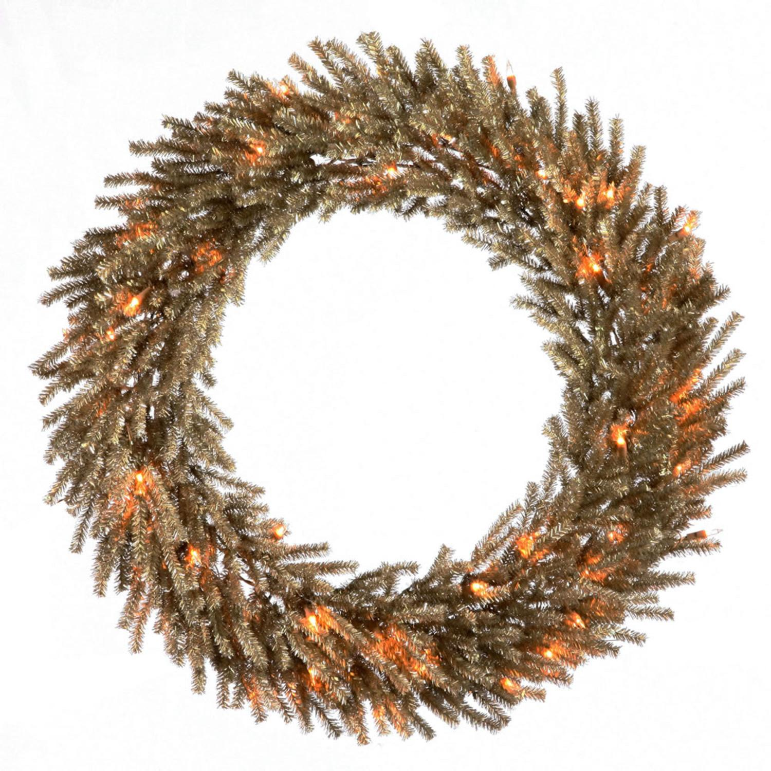 "24"" Pre-Lit Sparkling Mocha Brown Artificial Christmas Wreath - Clear Lights"