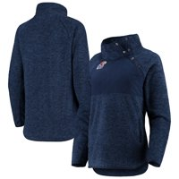 Kansas Jayhawks Women's Side Note Quilted Panel Snap-up Pullover Jacket - Navy