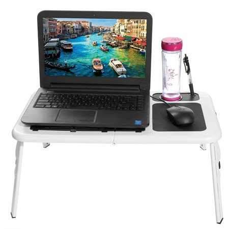 Folding Lap Desk Adjule Laptop Table For Home Bed With 2 Cooling Fans Mouse