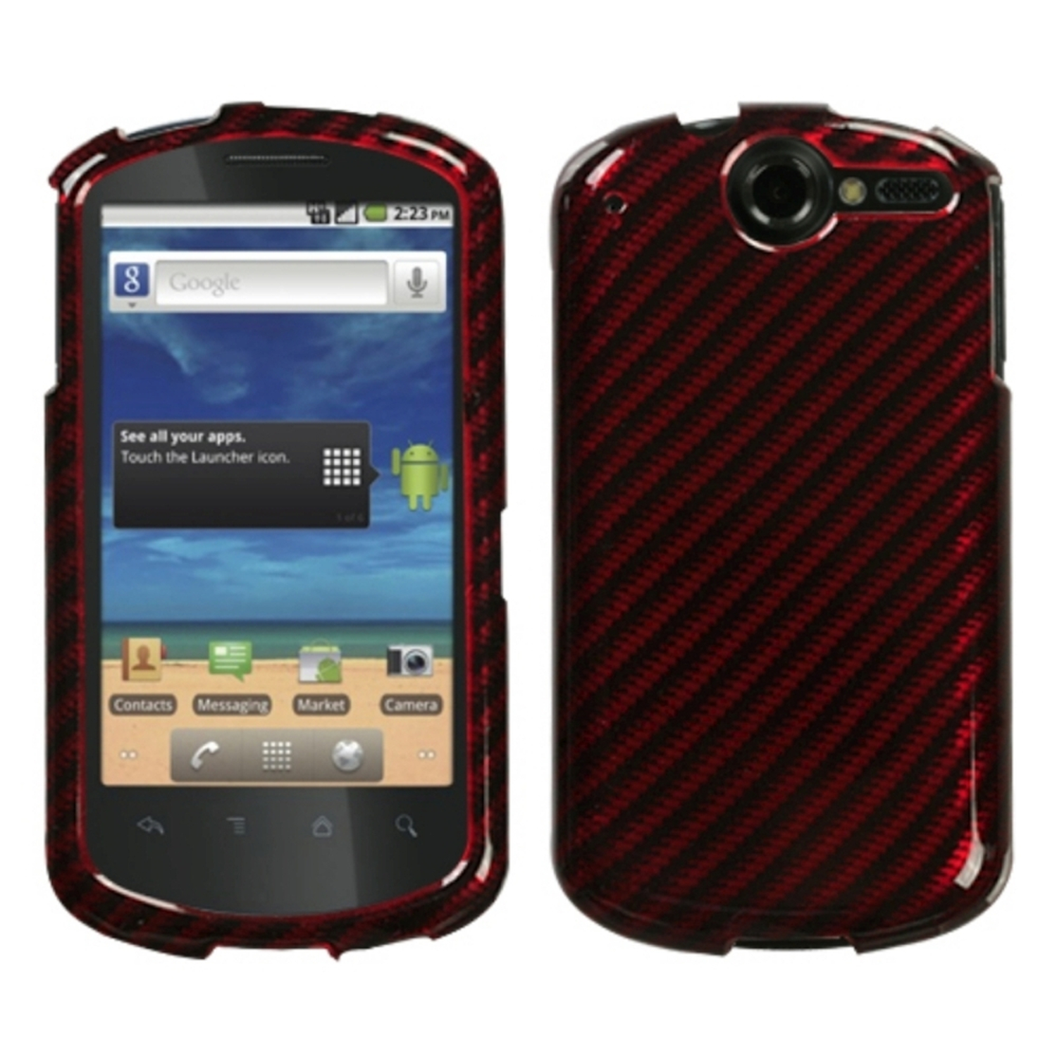 Insten Racing Fiber/Red (2D Silver) Phone Case for HUAWEI: U8800 (Impulse 4G)