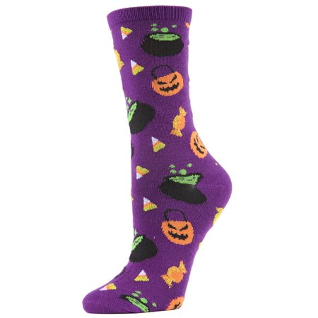 MeMoi Festive Pumpkin Crew Socks | Fun Halloween Novelty Socks One Size 9-11 / Imperial Purple MCV04090