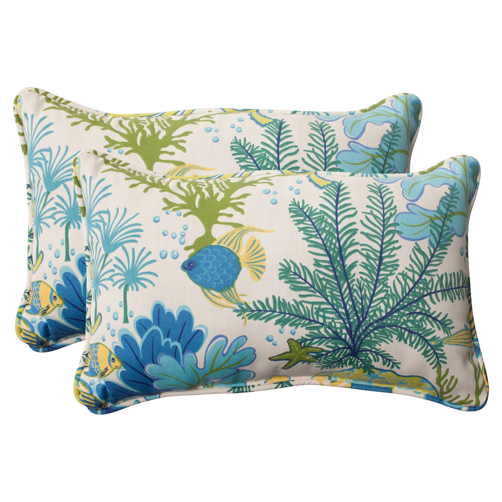 Pillow Perfect Outdoor/ Indoor Splish Splash Blue Rectangle Throw Pillow (Set of 2)