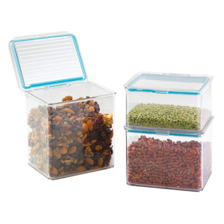 mDesign Airtight Stackable Kitchen Pantry Cabinet or Refrigerator Food Storage Containers, Attached Hinged Lids - Compact Bins for Pantry, Refrigerator, Freezer - BPA Free, Food Safe - Set of 3,