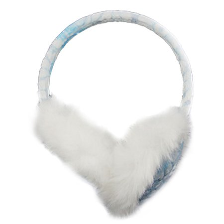 Women Winter White Faux Fur Flower Ear Cover Warmer Earmuffs Knitted Earlap