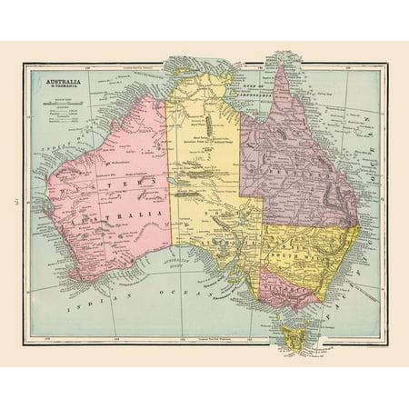 Map Australia Tasmania.International Map Australia Tasmania Cram 1892 28 77 X 23