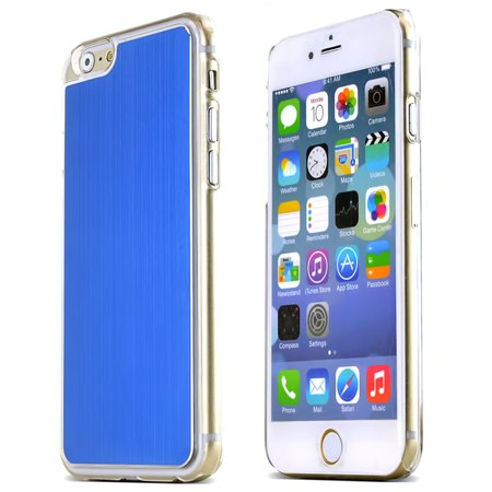 - Blue Polycarbonate Plastic Back with Aluminum Metal Border Case Made for Apple iPhone 6 (4.7 inch)