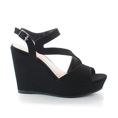 Parker29 by Bamboo, Strappy Curved Sling back Classic Platform Wedge Sandals