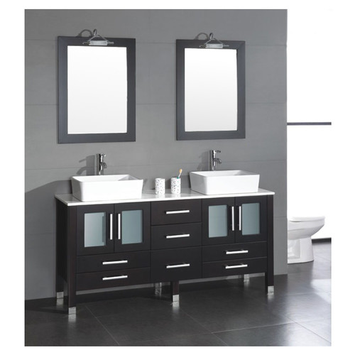 Cambridge Plumbing Aspen 64'' Double Bathroom Vanity Set with Mirror