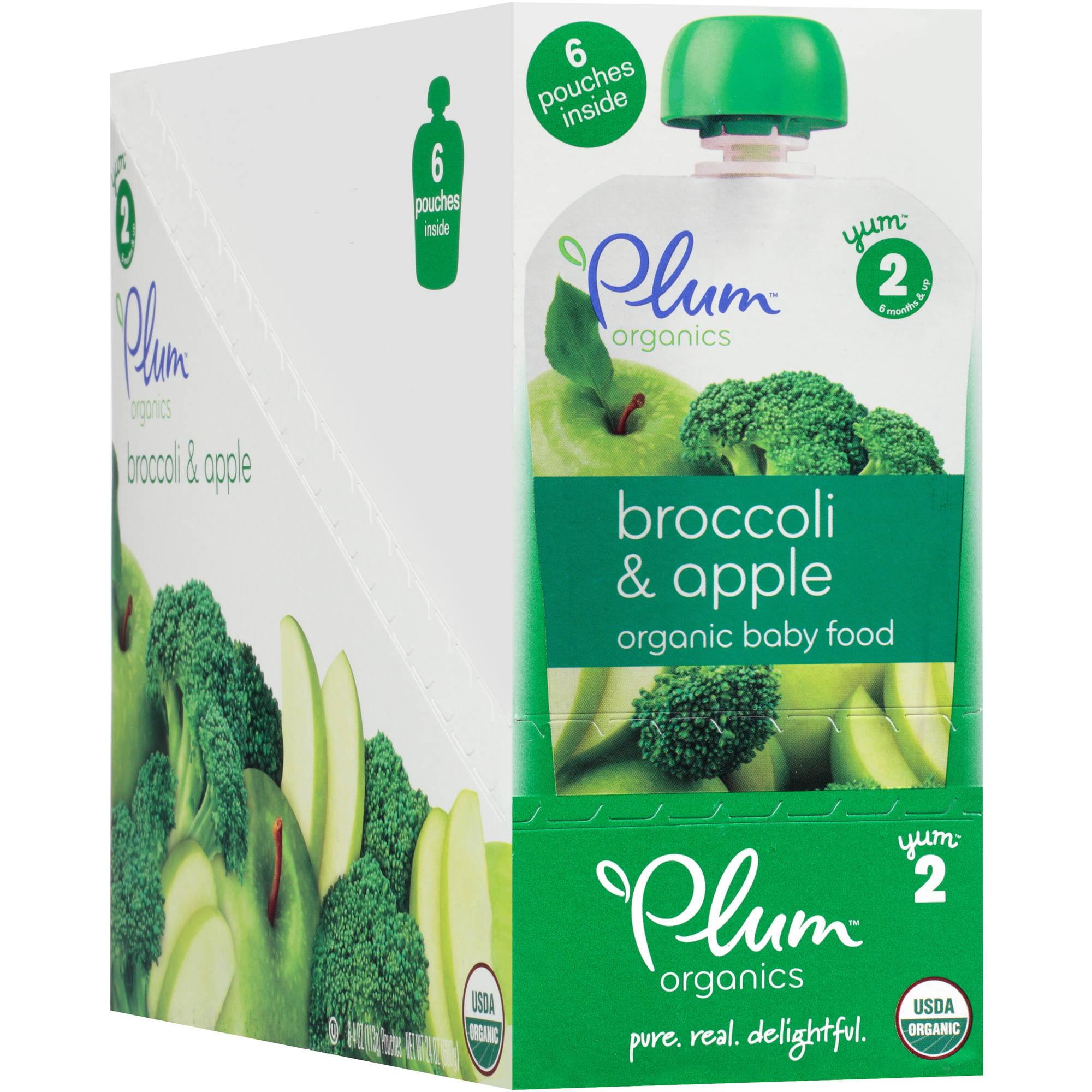 Plum Organics Stage 2 Broccoli & Apple Organic Baby Food, 4 oz, 6 count by Plum Organics
