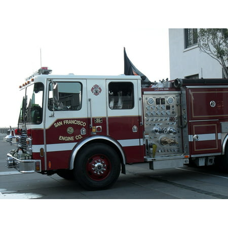 Framed Art For Your Wall Requires San Francisco Truck Fire Truck California  10x13 Frame