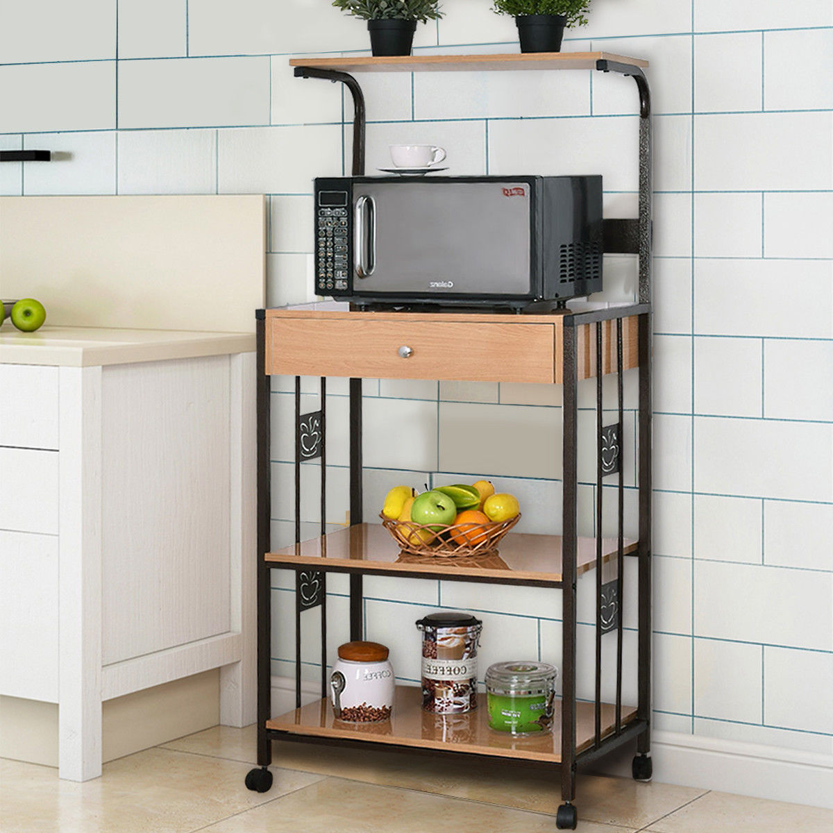 Costway 59u0027u0027 Bakers Rack Microwave Stand Rolling Kitchen Storage Cart  W/Electric Outlet   Walmart.com