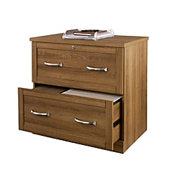 Realspace® Premium Letter-/Legal-Size Lateral File Cabinet, 2 Drawers, Golden Oak