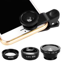 3 in1 Fisheye Wide Angle Macro Camera Lens Kit Clip On for Mobile Cell Phone HFON