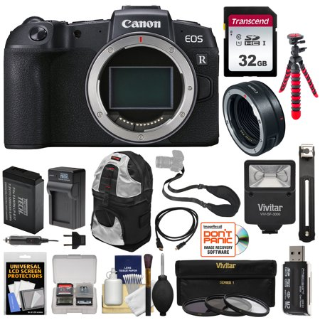 Canon EOS RP Full Frame Mirrorless Digital Camera Body with Mount Adapter + 32GB Card + Battery + Charger + Tripod + Flash + Backpack Kit
