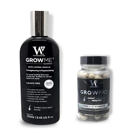Waterman's Grow Me, Best Hair Growth Shampoo 8.45 Oz + Waterman's GrowPro for Great Looking Thick and Healthy Hair, Pro Hair Vitamins, Benefits Hair, Nails and Skin, 60