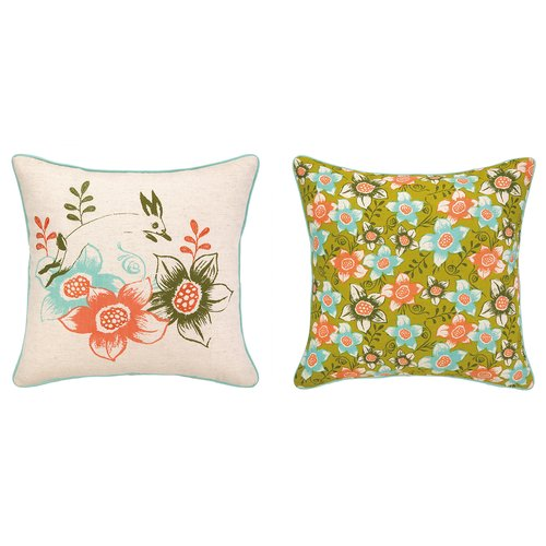 Sarah Watts Rabbit Among Flower Printed Reversible Throw Pillow