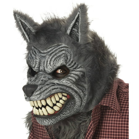 Werewolf Ani-Motion Mask Adult Halloween Accessory - Grey Alien Mask