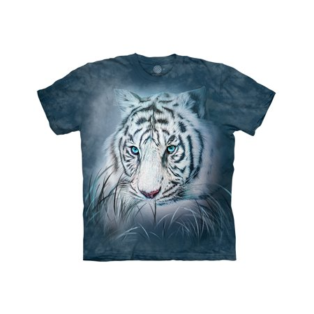 The Mountain THOUGHTFUL WHITE TIGER Blue Adult Unisex T-Shirt