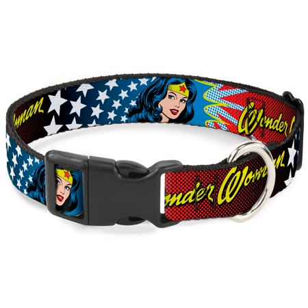 Wonder Woman DC Comics Superhero Face Stars And Name Clip Fun Pet Dog Cat Collar