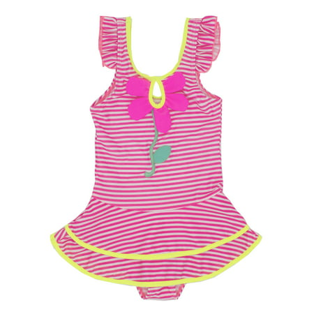 Kids Girl Stripes Ruffle Embroidered One-Piece Swimsuit (28/3-4 Years)