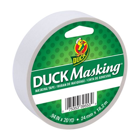 Duck White Masking Tape, 0.94 in. x 20 Yd.