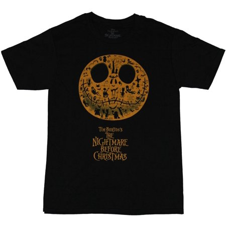 - Nightmare Before Christmas Mens T-Shirt -  Jack Face Filled With Movie Images