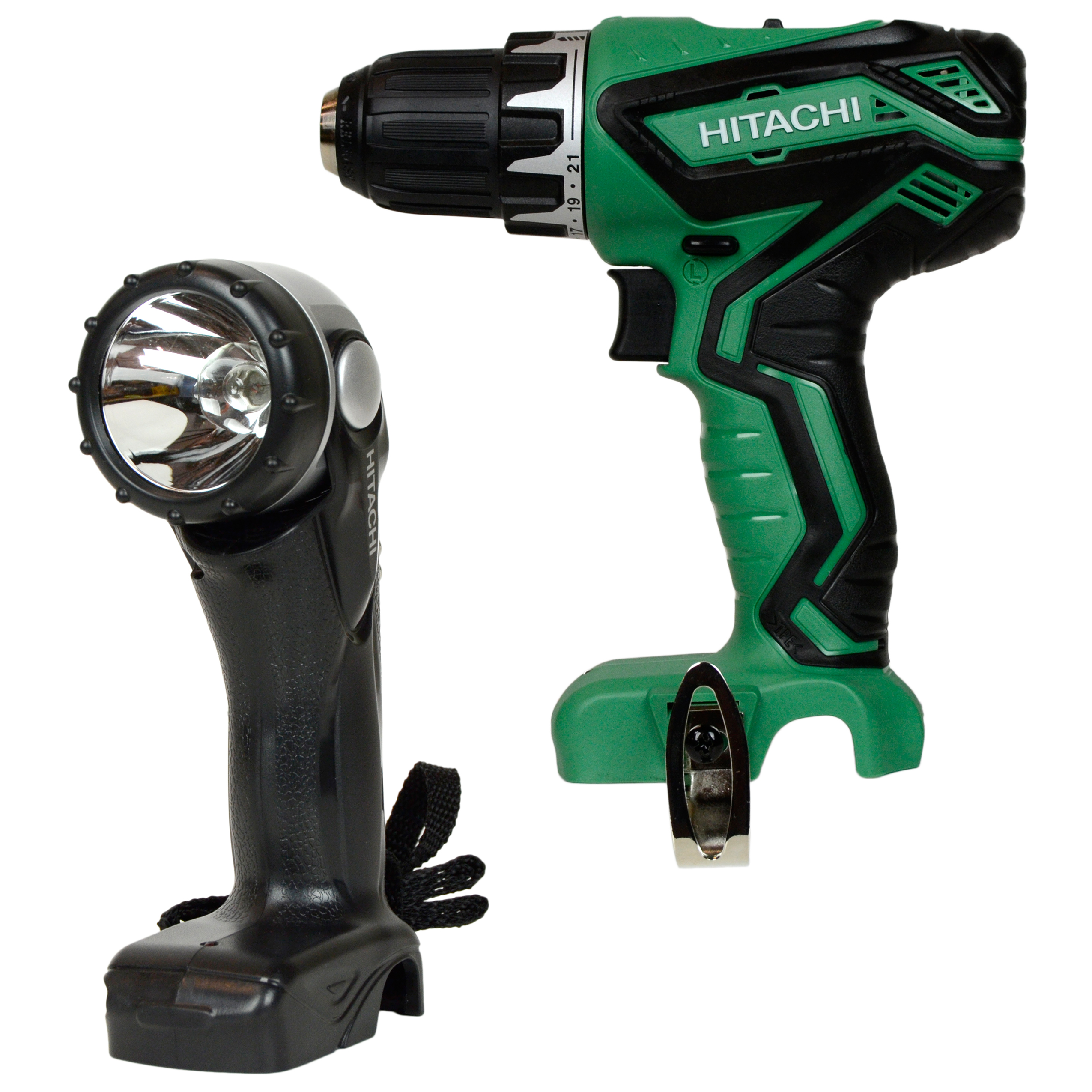 "Hitachi Power Tools DS10DFL2 12V Lithium-Ion 3/8"" Cordless Drill Driver & One UB10DL 12V Peak Cordless Flashlight"