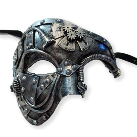 Steampunk Phantom Masquerade Mask Men Antique Silver](Steampunk Mask)