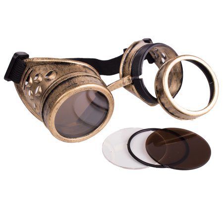 Vintage Veil (Vintage Steampunk Goggles Gold Welding Glasses Multiple Lenses Black)