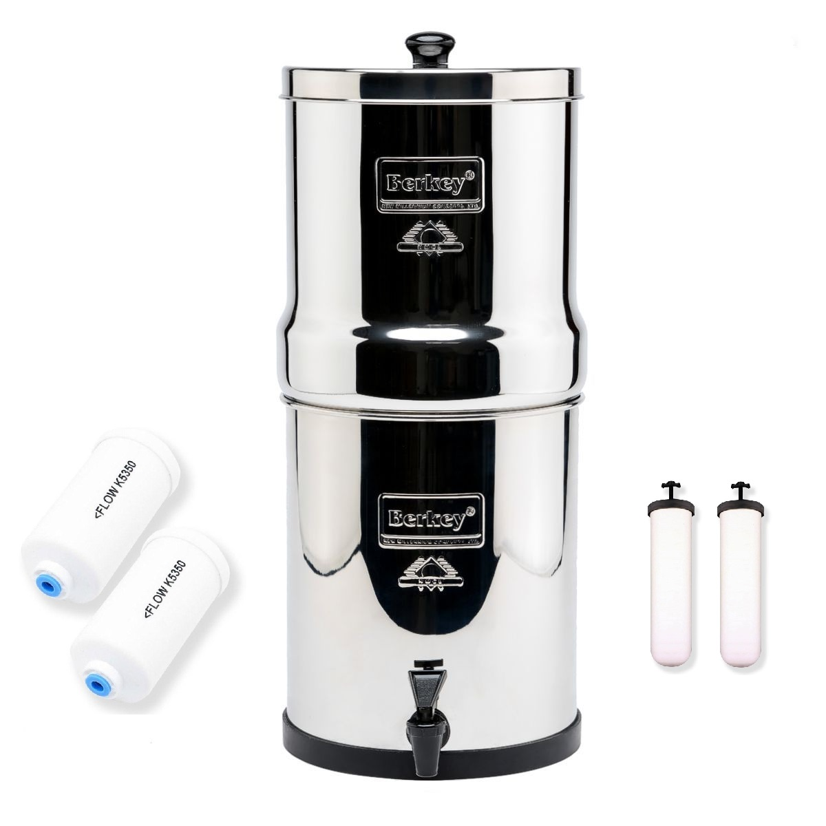 Big Berkey Water Filter System 2.2 Gal. with 2 PF4 Filters and 2 9 Inch Ceramic Filters