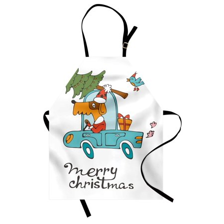 Christmas Apron Blue Vintage Car Dog Driving with Santa Costume Cute Bird Tree and Gift Present, Unisex Kitchen Bib Apron with Adjustable Neck for Cooking Baking Gardening, White Multi, by Ambesonne