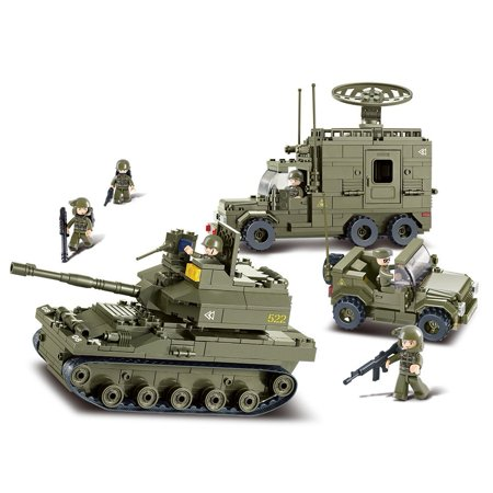 Army T-90  Armored Tank & Prowl Car & Radar Vehicle Building Blocks Educational Bricks Toy Fits LEGO - Top Educational Toys For 1 Year Olds