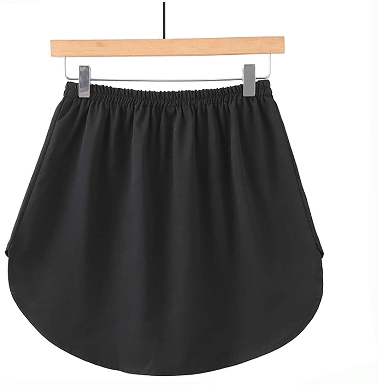Women Elastic Underskirt Shirt Fake Shirt Extender Top Inside Layered Mini Skirt