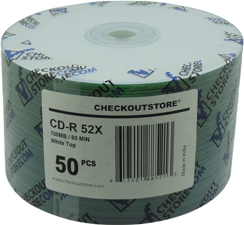50 CheckOutStore 52x CD-R 80min 700MB White Top (Shrink Wrap)