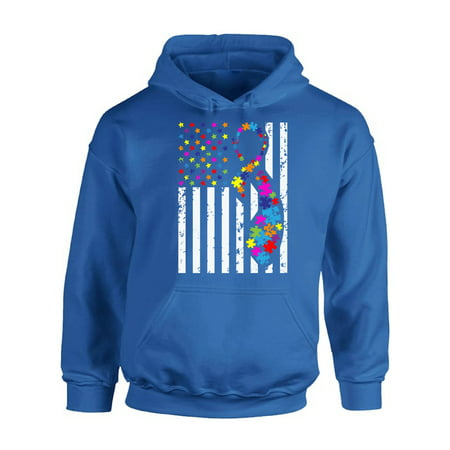 Awkward Styles USA Flag Autism Hoodie Autism Awareness Ribbon Sweater American Flag Colorful Sweatshirt for Men and for Women Support Autism Awareness Hooded Top Autistic Spectrum Awareness - Awareness Hooded Sweatshirt