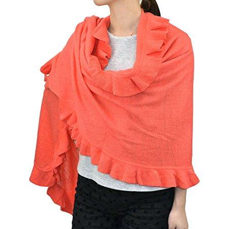 Ruffle Trim Knit Shawl Wrap (Coral) Silk Knit Wrap