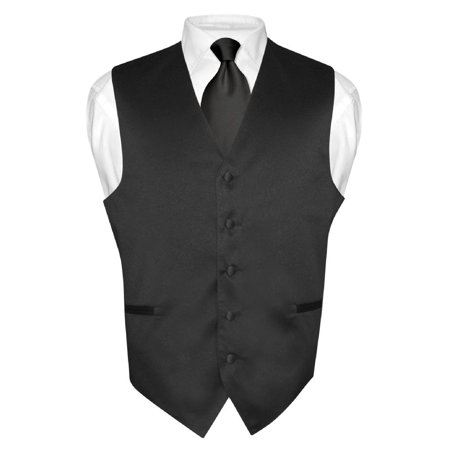 Men's Dress Vest & NeckTie Solid BLACK Color Neck Tie Set for Suit or Tuxedo ()