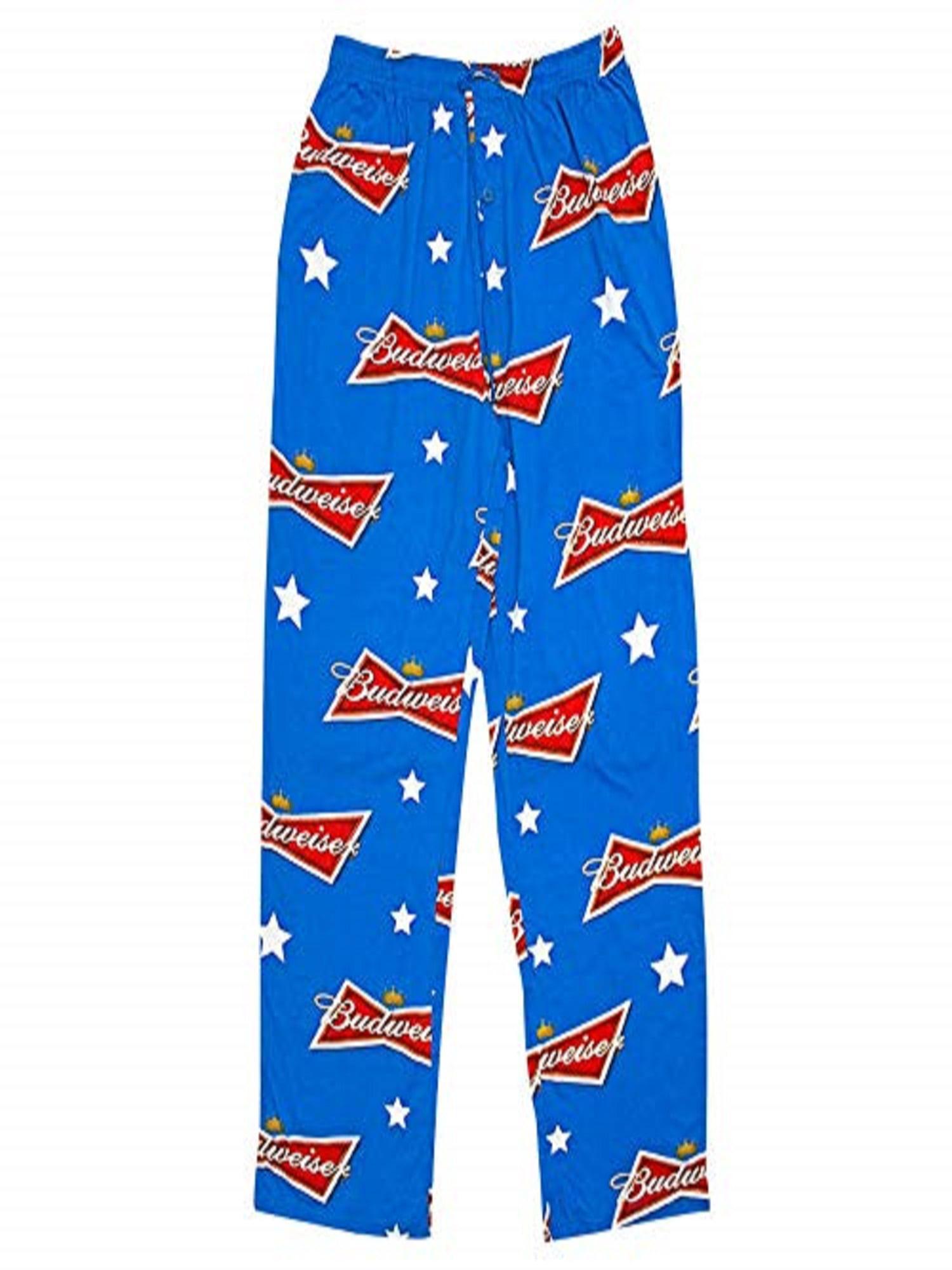 Men/'s Budweiser Pajamas Pants Fleece Novelty Sleep Wear Beer Party Attire Blue