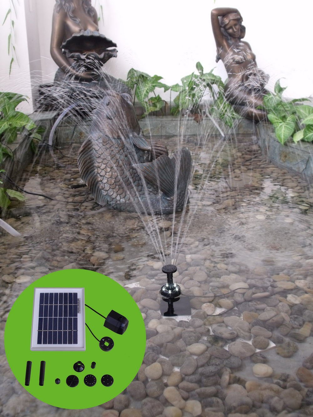 Sunnydaze Solar Pump and Panel Kit with Battery Pack and LED Light, 65 GPH, 36-Inch Head by Sunnydaze Decor