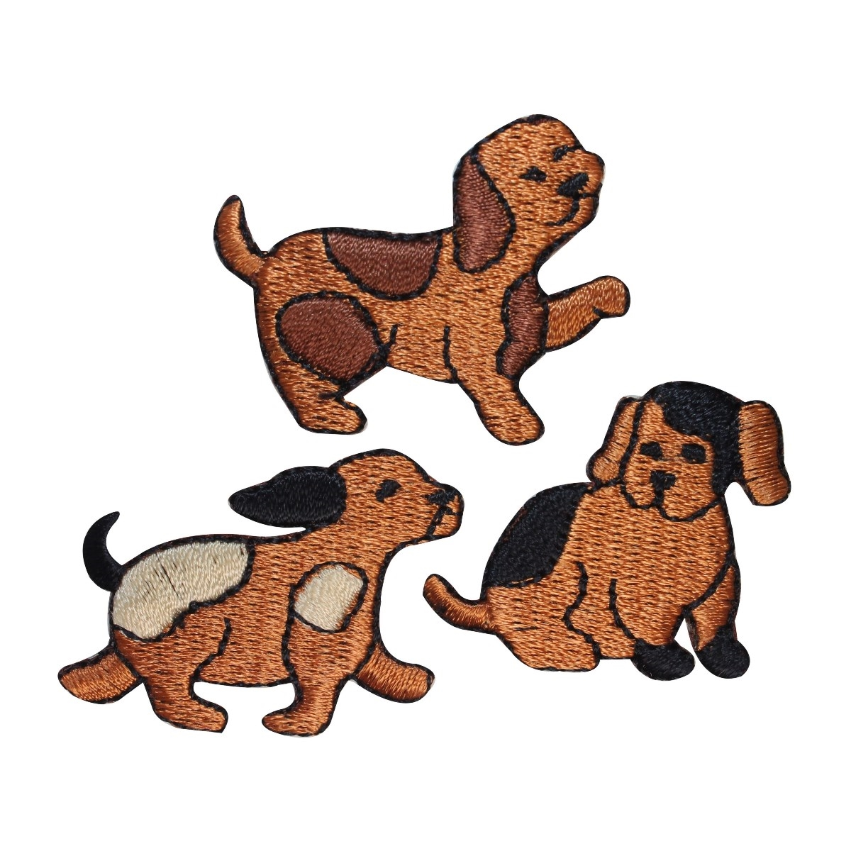 ID 2846ABC Set of 3 Assorted Dog Patches Puppy Pet Embroidered Iron On Applique