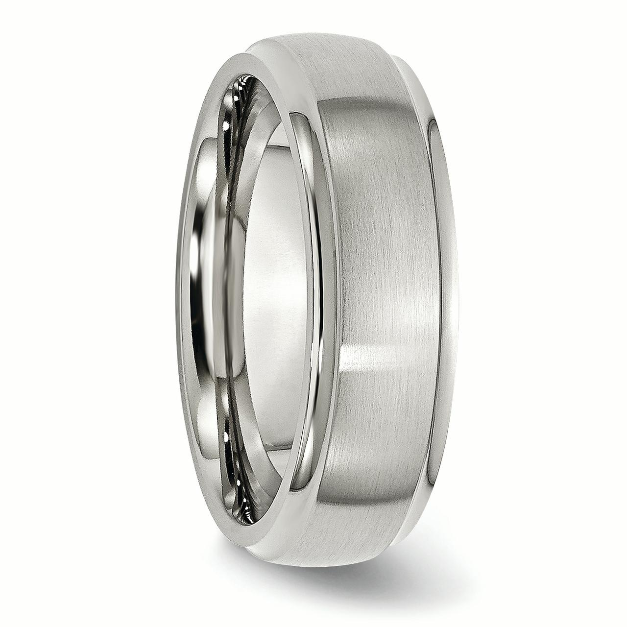 Wedding Bands Classic Bands Domed Bands w//Edge Titanium Ridged Edge 7mm Brushed and Polished Band Size 10
