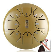 Suzicca 6in Metal Tongue Drum Mini 8-Tone Hand Pan Drums with Drumsticks Percussion Musical Instruments