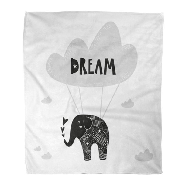LADDKE Flannel Throw Blanket Flying Elephant for Baby Room The Wall Kids Interior Soft for Bed Sofa and Couch 50x60 Inches