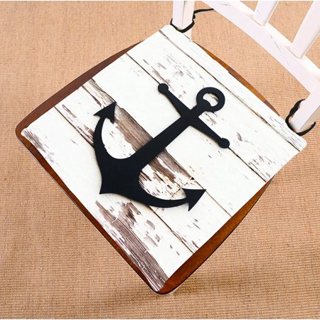 GCKG Anchor On Faux Wood Chair Pad Seat Cushion Chair Cushion Floor Cushion with Breathable Memory Inner Cushion and Ties Two Sides Printing 16x16