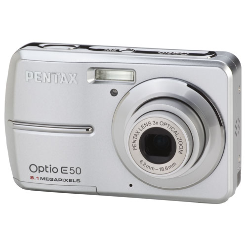 Pentax Optio E50 Silver 8 MP Digital Camera w/ 3x Optical Zoom & Face Recognition