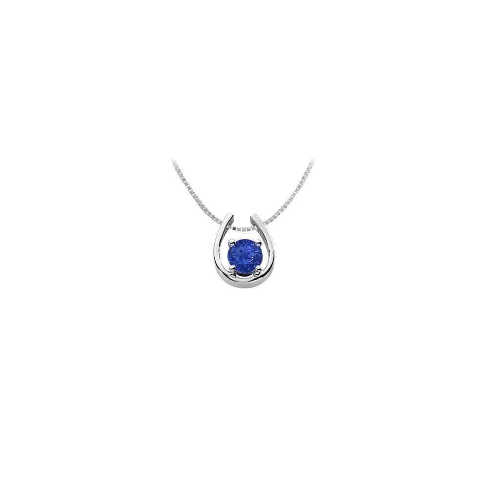 Sapphire Horseshoe Pendant 14K White Gold 1.00 CT TGW - image 2 de 2