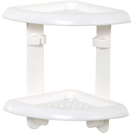 Zenna Home 370W `10.5u0022 x 11u0022 x 7.5u0022 White Adhesive Corner Caddy