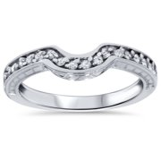 14ct notched wedding ring curved antique like enhancer - Wedding Ring Enhancers