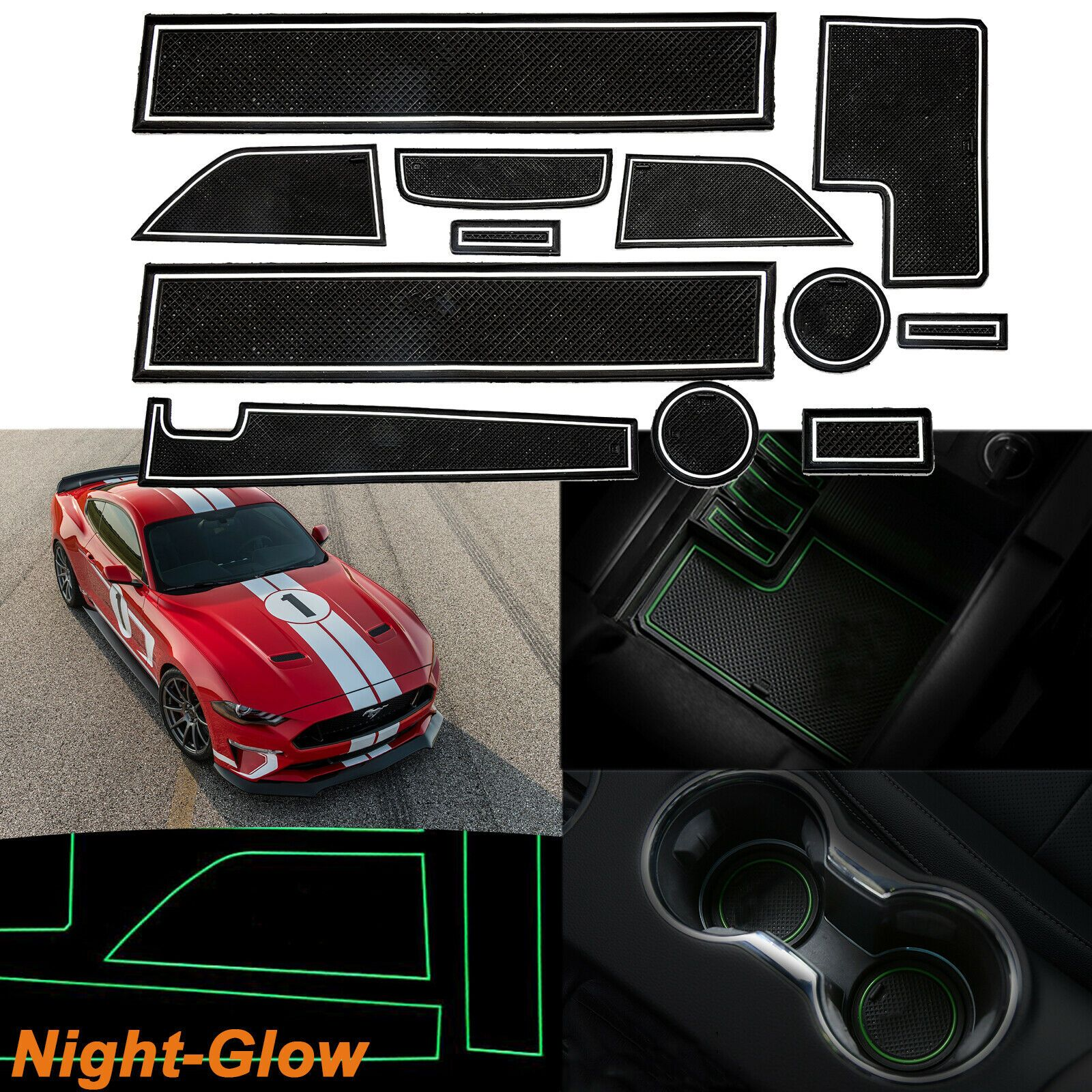 Xotic Tech 12pcs Non-Slip Coaster Cup Holder Door Storage Pad for Ford Mustang 2015-2019 Car Full Interior Night-Glow Anti-dust Mat