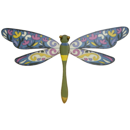 15 Inch Printed Metal Dragonfly Wall Plaque (Green)